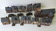 Set of 11  x 15mm Normandy PREPAINTED BUILDING KITS
