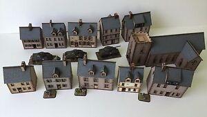Set of 11  x 15mm Normandy PREPAINTED BUILDING KITS