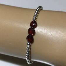 925 Sterling Silver & Faceted Garnet Gemstone bead bracelet