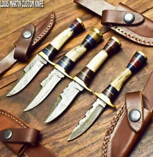 LOUIS MARTIN CUSTOM HANDMADE DAMASCUS ART A LOT OF 4 SKINNER KNIFE STAG ANTLER