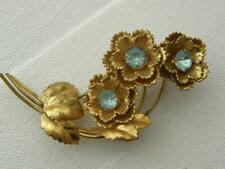 Vintage Czechoslovakia Goldtone Aquamarine Glass Stones Flowers Brooch Pin