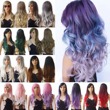 New Fashion Long Cosplay Wig Women Lady Heat Friendly Curly Straight Full Wigs s