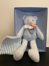 Doudou Et Compagnie Paris Gommettes Bear Blue Soft Fur Plush Baby Toy Box Nib