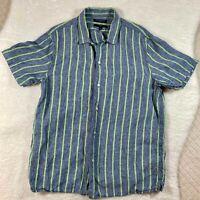 Banana Republic 100% Linen Short Sleeve Slim Fit Shirt Mens Size Large Blue