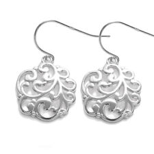 925 Sterling Silver Filigree Design Round Hanging Earrings
