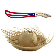 Set Puerto Rico  Child Jibaro Pava Hat + PR Flag Wood Machete * FREE SHIPPING *