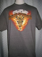 HARLEY DAVIDSON ROYAL FLUSH BULL SKULL ON FIRE DE-LUX T-SHIRT MEN SIZE XL HOT