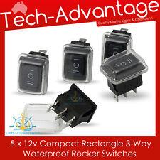 5 X 12V WATERPROOF 3-WAY / THREE-WAY ON/OFF/ON ROCKER SWITCHES - BOAT/CAR/4X4