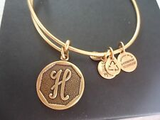 Alex and Ani Initial  H  Charm Bangle Russian Gold New W/Tag Card & Box