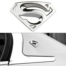 3D Superman Chrome Metal Car Motorcycle Logo Sticker Badge Emblem Decal Silver