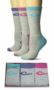 Drake Womens Merino Wool Cushion Moisture Wicking Boot Crew Socks Gift Box 3 PK