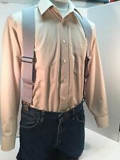"New, Men's, Light Gray, Side Clip Suspenders / Braces, XL, 2"", Adj.  Made in USA"