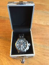 Mens Gents TW Steel 50mm Oversize Silver Watch Black Leather Strap