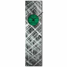 Modern Wall Clock Silver Home Decor Green Metal Wall Art Abstract Kitchen Clock