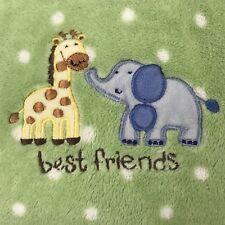 JUST BORN Baby Security Blanket Green Polka Dot Best Friends Giraffe Elephant