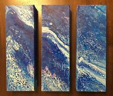 Ocean View | Set of 3 Blue Purple White Abstract original new acrylic paintings