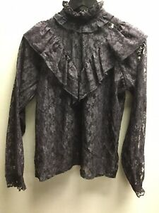 Women's Marco Black Lace Frilly Victorian Style Shirt UK Small