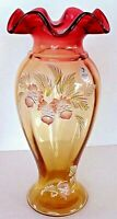 Fenton Art Glass Gold Amberina At Woodlands Edge Vase Historic Collection LE