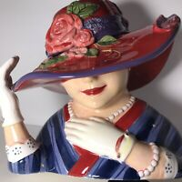 "Susan Winget Ladies of the ""Red Hat Society"" Ceramic Cookie Jar 12"" x 10""-NEW"