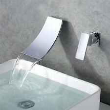 Bathroom Basin Waterfall Tap Mixer Wall Mounted Faucet Chrome UK STOCK