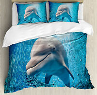 Fish Duvet Cover Set with Pillow Shams Dolphin in Ocean Marine Print
