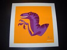 Jurassic Park tame'd Purple Velociraptor art silkscreen print Tom Whalen sn/75