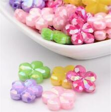 40 Faceted Acrylic Flower Beads AB Pearl Lustre 15mm Top Quality Acr4
