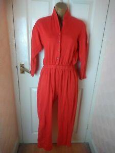 Back To Basic Size 12/14 Orange Red Jumpsuit.