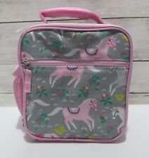 Pottery Barn Kids girls Insulated Pink & Gray  HORSES Classic Lunch Box bag
