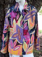 GORGEOUS Cotton Patchwork Floral Beaded Jacket Womens Petite Large Tie Dyed PL