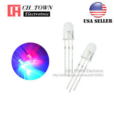 100pcs 5mm 3Pin Common Anode Water clear Bi-Color Red Blue Light Led Diodes USA