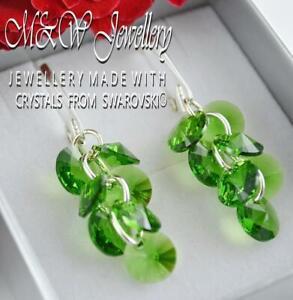 925 Sterling Silver Earrings Crystals From Swarovski® XILION RIVOLI -Fern Green