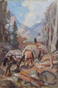 Oil Painting Study Edgar Payne Pack Train 1930? California Western Artist NO RES