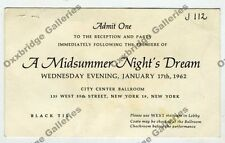 GEORGE BALANCHINE Midsummer Night's Dream 1962 INVITE TICKET BALLET DANCE NYC