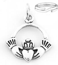 "STERLING SILVER  ""CLADDAGH"" CHARM WITH SPLIT RING"