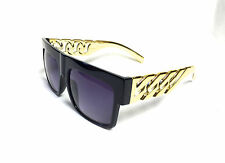 Kim Kardashian style Sunglasses Black with GOLD metal  New Hollywood 100% UV