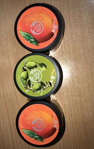 New The Body Shop 3 Pack Body Scrub Set 2mango 1olive Exfoliating Scrub 50ml
