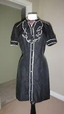 Miss Selfridge 1930's Inspired Nearly Black 100% Silk Ruffle Shirt Dress UK 14