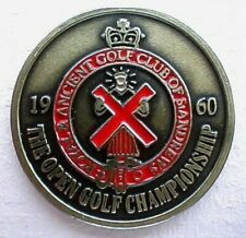 """1960 OPEN GOLF CHAMPIONSHIP QUALITY HAND PAINTED EMBOSSED BALL MARKER 1"""" COIN."""