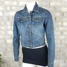 American Eagle Womens Size SP Blue Jean Denim Distressed Stone Washed Jacket AEO