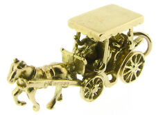 Horse carriage charms 9Carat yellow gold traditional animals & insects no stone