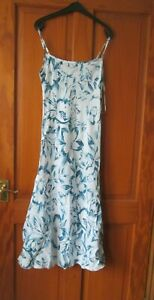 Per Una Linen Mix Blue Strappy Dress size 8R