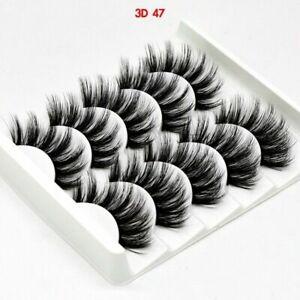 3D Mink False Eyelashes Wispy Soft Thick Long Fake Eyelashes 5 pairs UK