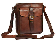 Unisex Crossbody Shoulder Bag Real Antique Leather RUST BROWN Zip Top Casual BAG