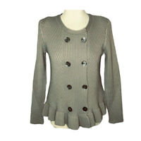 Pure Collection medium sweater cashmere lambs wool brown taupe peplum chunky