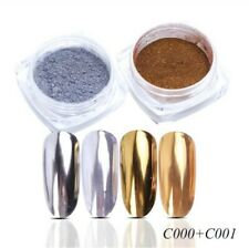 2 pcs Gold Silver Metallic Pigment Mirror Dipping Powder Nail Dust