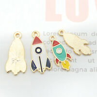 10PCS Multi-Colors Enamel Alloy Space Rocket Pendant Charm for Bracelet Necklace