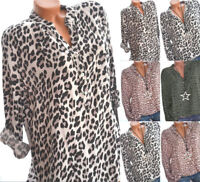 Women Leopard Long Sleeve Oversized Casual Shirt Top V Neck Blouse Loose Tee