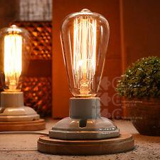 Industrial Vintage Edison Wooden Ceramics Base Socket E27 Desk Light Table Lamp