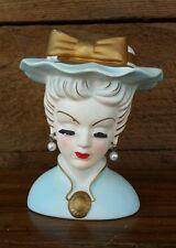"""Vintage Lee Wards porcelain Lady In Blue 5"""" Vase  Earrings Japan Fashion Design"""